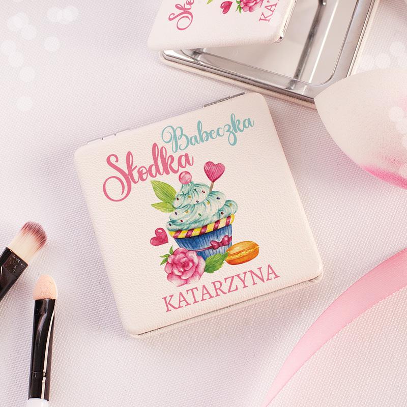 Lusterko kompaktowe z pięknym nadrukiem oraz napisem słodka babeczka + imię