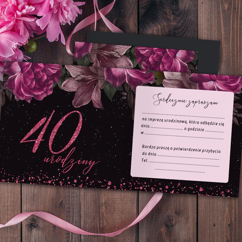 Zdjęcie w galerii - ZAPROSZENIA Uniwersalne na 40 urodziny Róż & Czerń 10szt +koperty