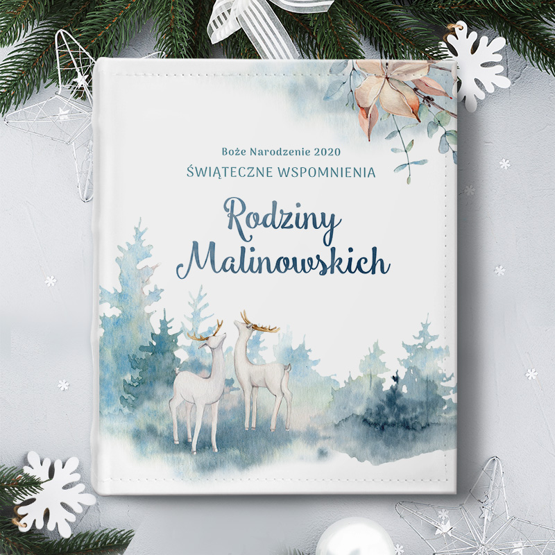 Świąteczny album na zdjęcia w zimowej kolorystyce, Piękny prezent na Święta Bożego Narodzenia.