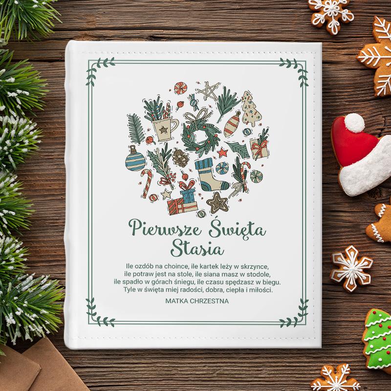 Album personalizowany to idealny prezent na święta. Okładkę albumu zdobi piękna świąteczna grafika.