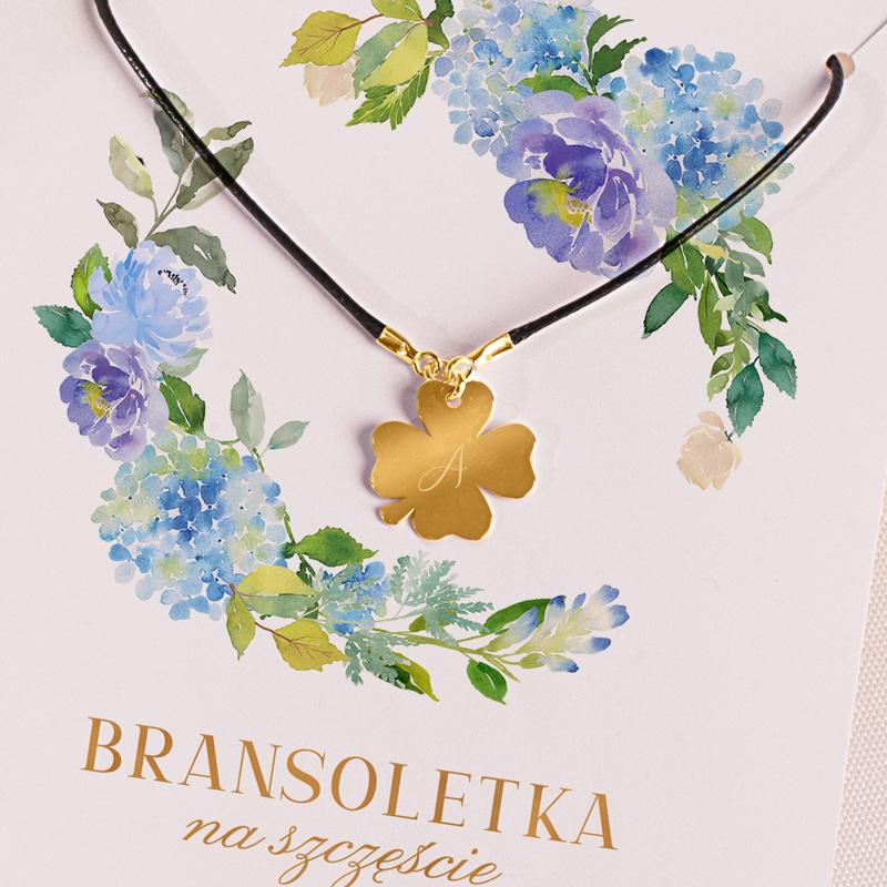 Zdjęcie w galerii - BRANSOLETKA pozłacana z grawerem PREZENT Na Szczęście Niebieskie Hortensje