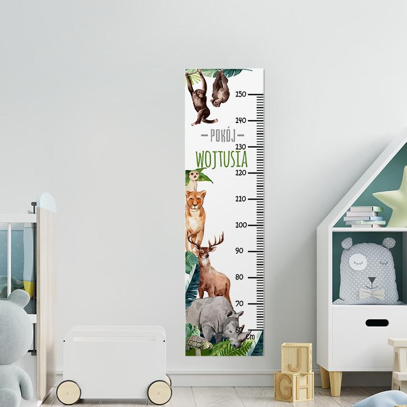 Kolorowa miarka wzrostu z grafiką zwierząt z dżungli