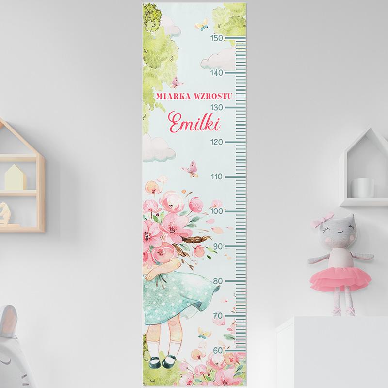 Zdjęcie w galerii - MIARKA Wzrostu Prezent Dla Dziecka Dziewczynka Z Kwiatami PERSONALIZOWANA
