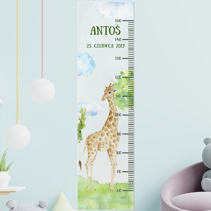 Zdjęcie w galerii - MIARKA Wzrostu Prezent Dla Dziecka Żyrafa Akwarela PERSONALIZOWANA