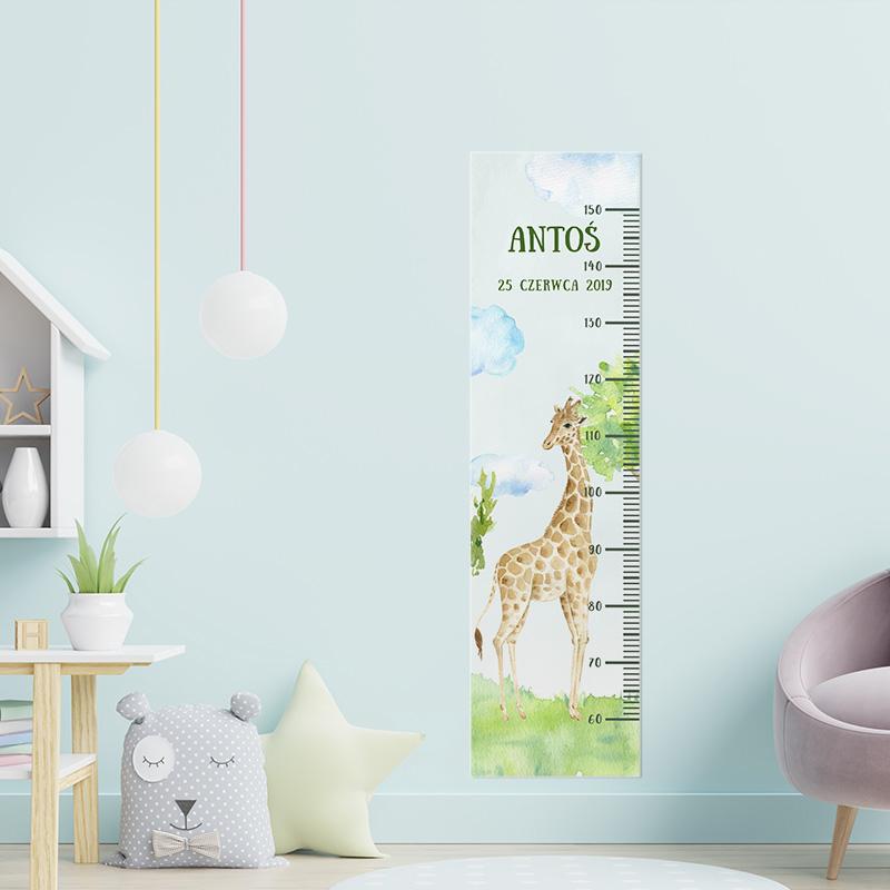 Kolorowa miarka wzrostu dziecka z akwarelą w formie żyrafy