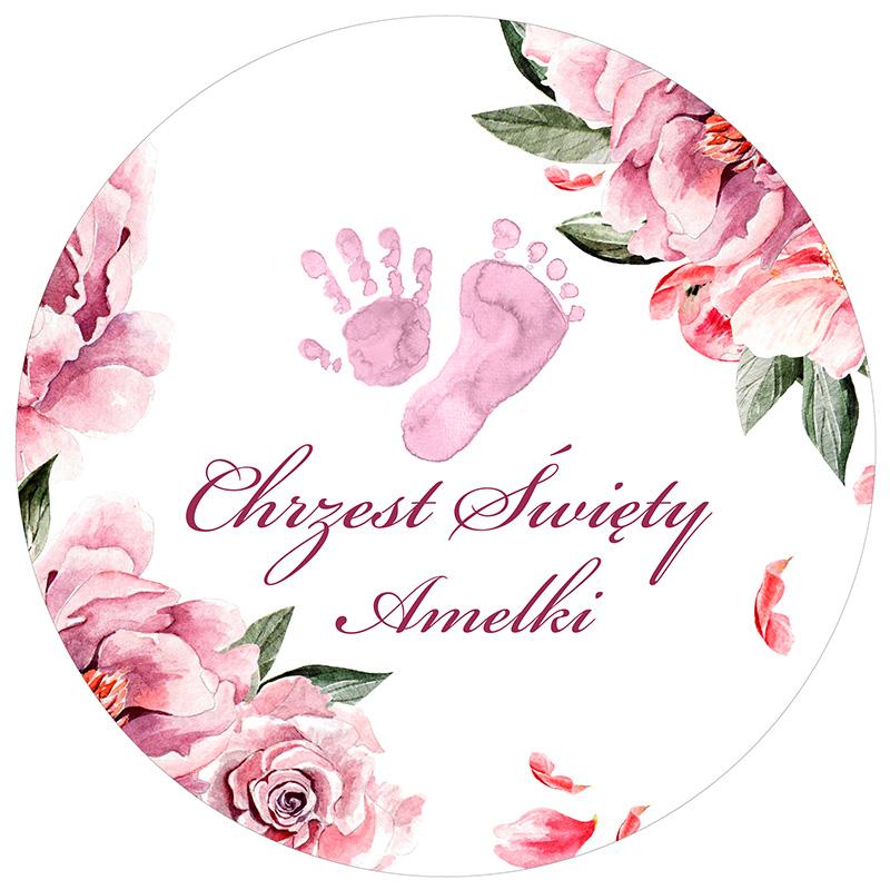 Zdjęcie w galerii - Opłatek na tort Różowe Odciski PERSONALIZOWANY