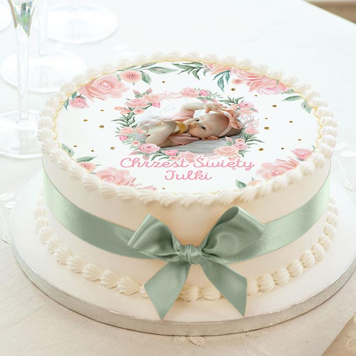 Kolorowy opłatek na tort z okazji chrztu świętego dla dziewczynki ze zdjęciem