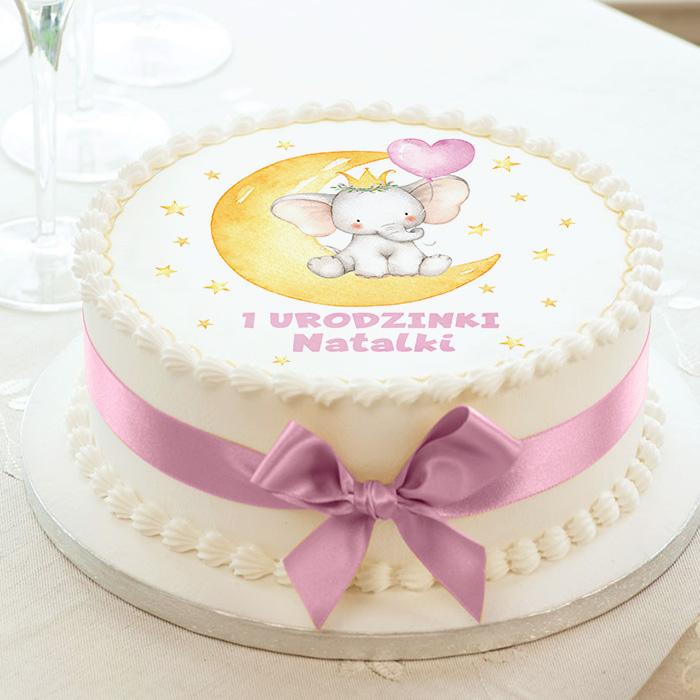 Kolorowy opłatek na tort dla dziewczynki z grafiką słonika z balonem