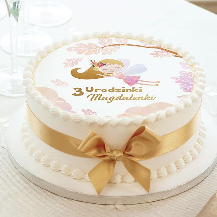 Kolorowy opłatek na tort urodzinowy dla dziewczynki