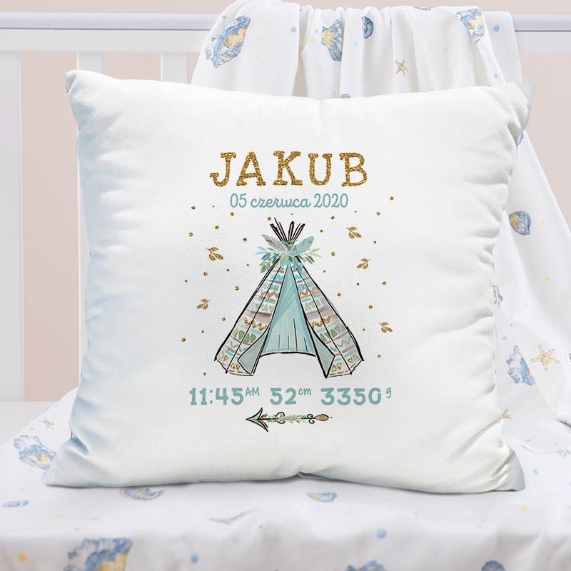 Indiański wigwam to piękna grafika, która znajduje się na personalizowanej poszewce na poduszkę.