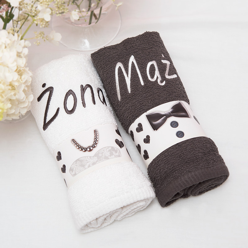 Zestaw ręczników na prezent ślubny dla Młodej pary.