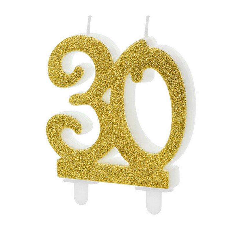 Brokatowa, złota świeczka na 30 urodziny. Idealny dodatek na tort urodzinowy.