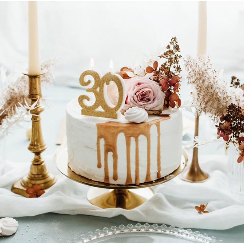 Zdjęcie w galerii - Świeczka urodzinowa liczba 30, złoty 7.5cm