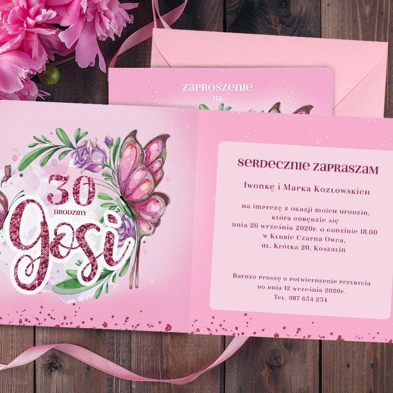 Zdjęcie w galerii - ZAPROSZENIE Personalizowane Na Urodziny Motylki + Koperta
