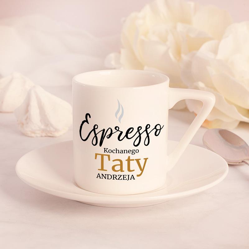 Zdjęcie w galerii - FILIŻANKA ze Spodkiem Do Espresso Personalizowana Prezent Dla Kochanej Mamy/Kochanego Taty