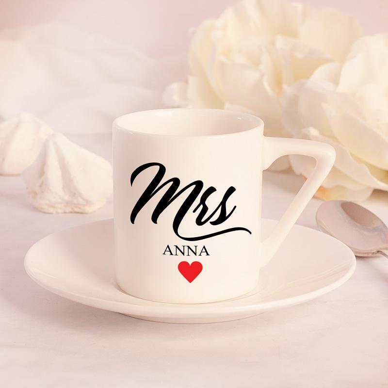 Zdjęcie w galerii - FILIŻANKA ze Spodkiem Do Espresso Personalizowana Prezent MR/MRS