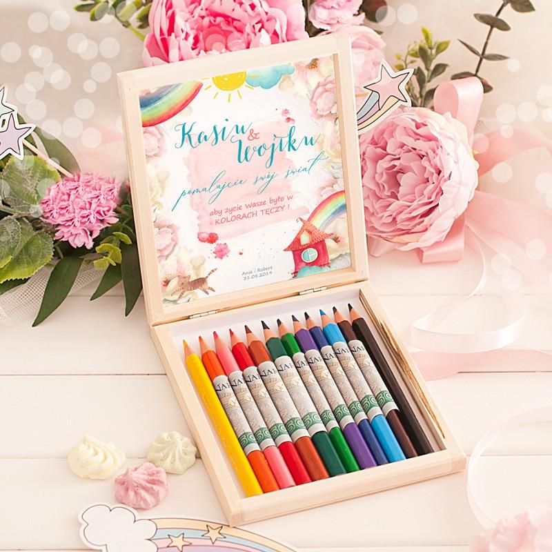 Prezent na ślub dla Młodej Pary - kredki na kolorowe życie!