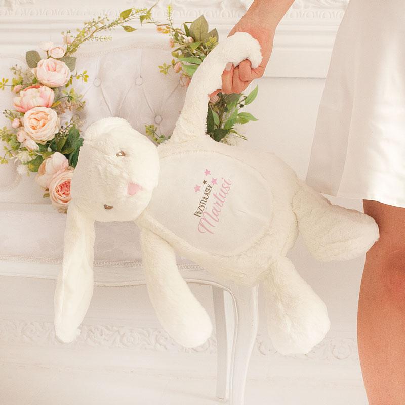 Zdjęcie w galerii - ZAJĄC Pluszowy Biały Exclusive Przytulasek Dla dziewczynki Z Imieniem