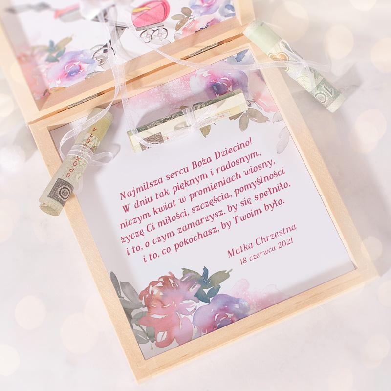 Zdjęcie w galerii - PREZENT Na Chrzest Święty Pudełko Na Pieniądze Dla Dziewczynki Różowe