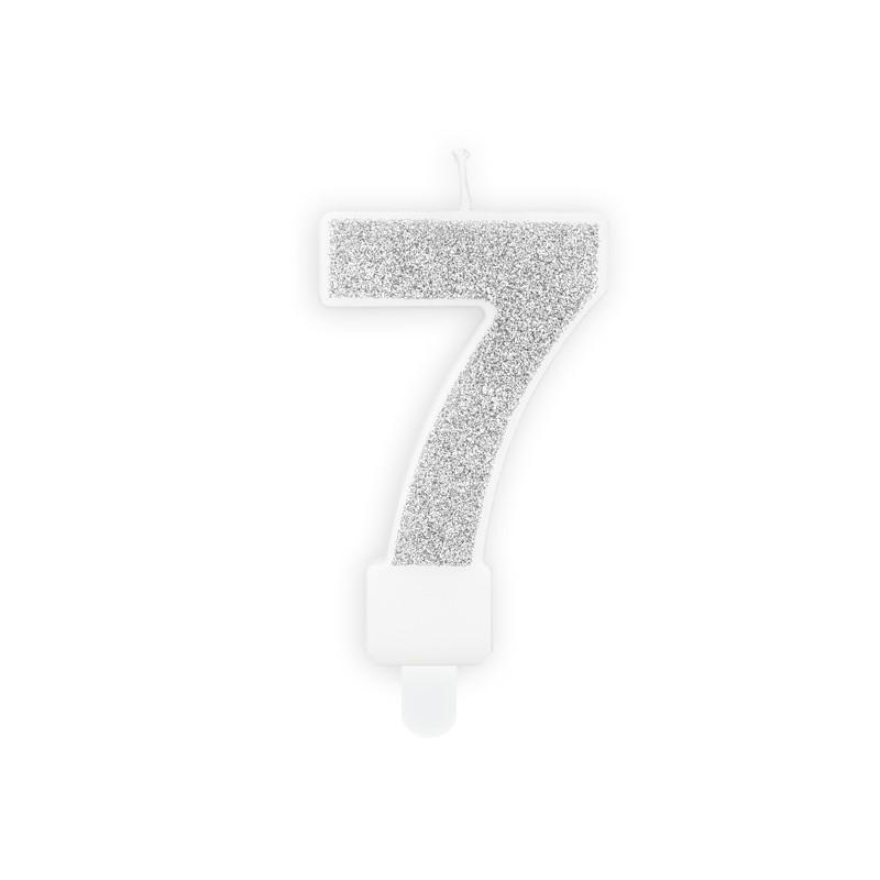 Brokatowa świeczka z numerem 7 z patyczkiem do wbicia.