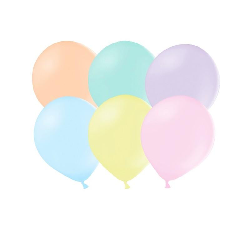 Zestaw balonów mocnych w pastelowych kolorach. W paczce jest 10 balonów o maksymalnej wysokości 27 cm.