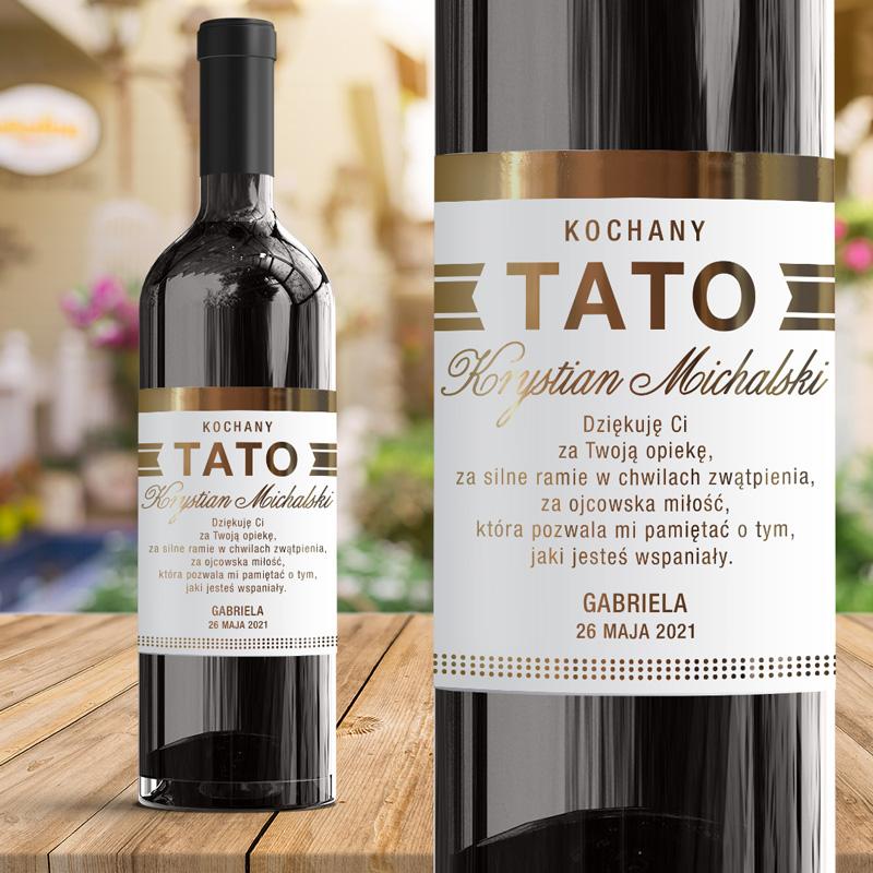 Elegancka etykieta metalizowana w kolorze zotym na wino dla Taty