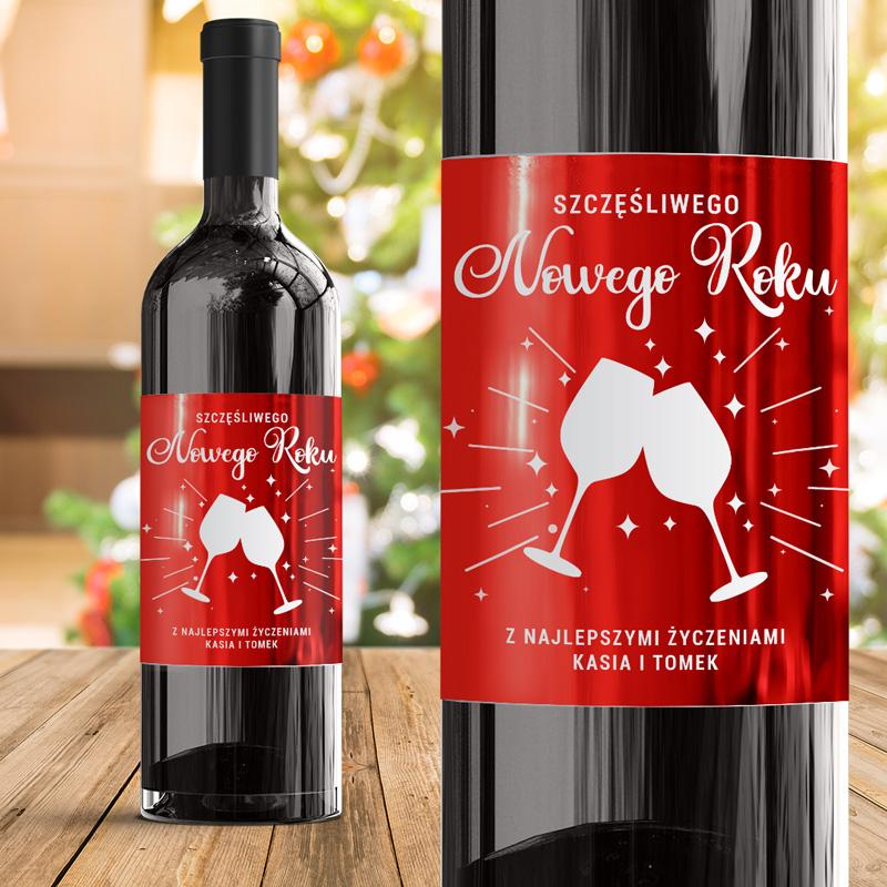 Personalizowana etykieta na wino ze szampańskim motywem. Idealnie sprawdzi się jako prezent na Nowy Rok!
