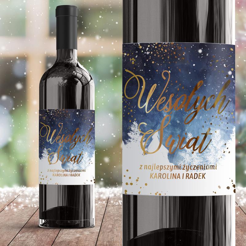 Zdjęcie w galerii - ETYKIETA Na Wino Zimowy Czas Metaliczny Nadruk