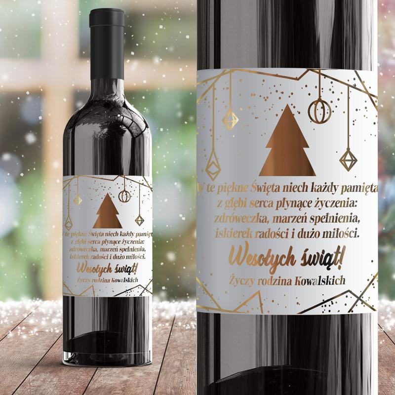 Personalizowana etykieta na wino w nowoczesnym stylu. Etykieta dekorowana jest grafiką ze świątecznymi symbolami.
