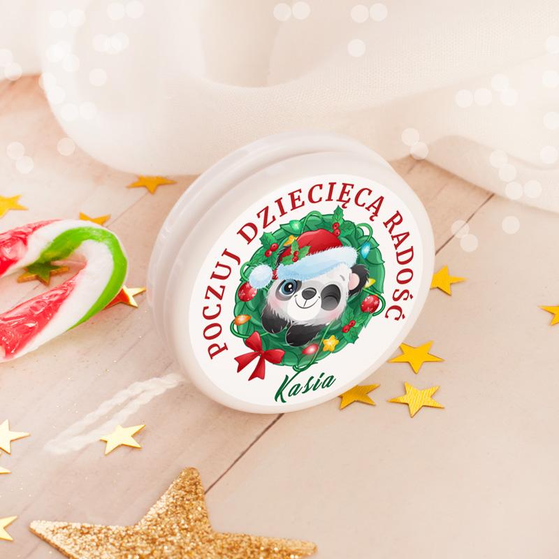 Personalizowane jojo z etykieta z pandą na święta oraz z imieniem.