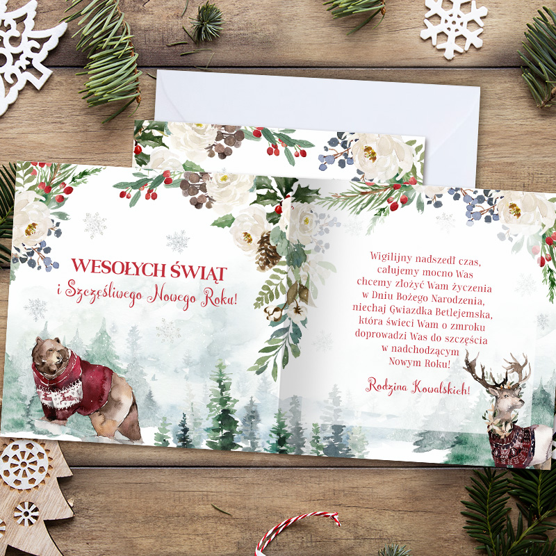 Zdjęcie w galerii - KARTKA Świąteczna z Życzeniami Magia Świąt PERSONALIZOWANA +Koperta