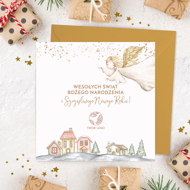 Personalizowana kartka świąteczna z życzeniami. Idealny prezent od firmy na Święta Bożego Narodzenia.