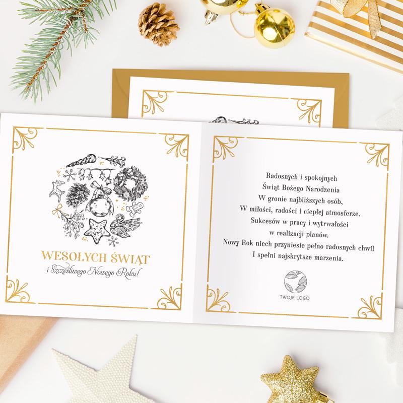 Zdjęcie w galerii - KARTKA Świąteczna Z Życzeniami Symbole Twoje LOGO/Podpis
