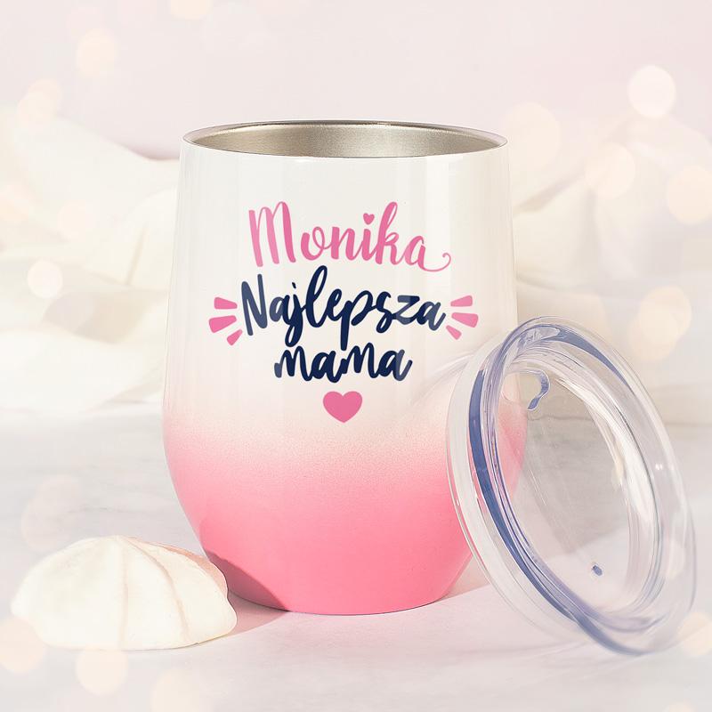 Personalizowany kubek termiczny w modnej kolorystyce. Idealny gadżet dla ukochanej i najlepszej mamy!
