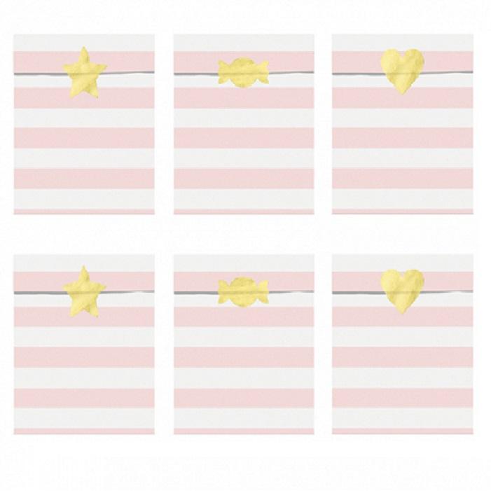 Zdjęcie w galerii - TOREBKI papierowe na upominki w paski różowe 6szt + naklejki