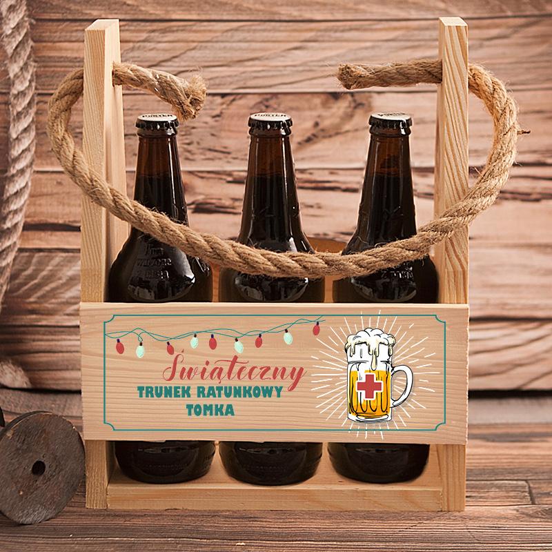 Personalizowane nosidło na 6 piw z bożonarodzeniowym nadrukiem z dodatkowym miejscem na imię.