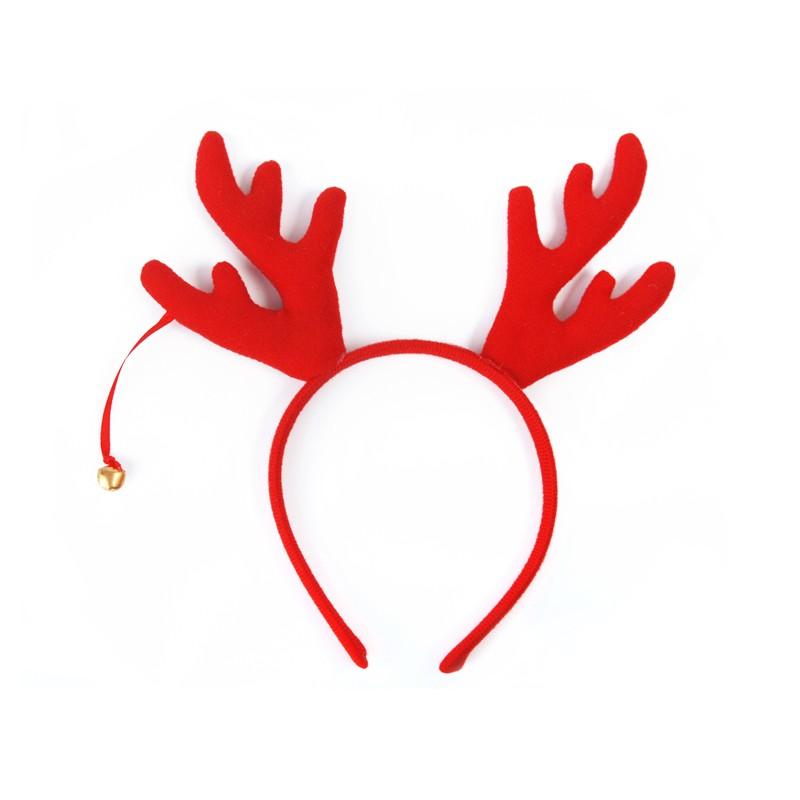 Opaska czerwona na głowę z pluszowymi rogami renifera i wiszącym dzwoneczkiem.