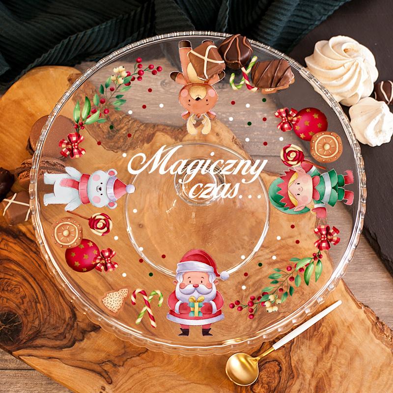 Personalizowana patera z motywem świątecznym i miejscem na nazwisko.