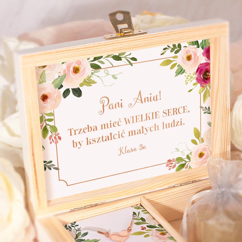 Zdjęcie w galerii - PREZENT Dla Nauczycielki W Drewnianym Pudełku BRANSOLETKA Różowe Złoto Z Grawerem Subtelne Kwiaty