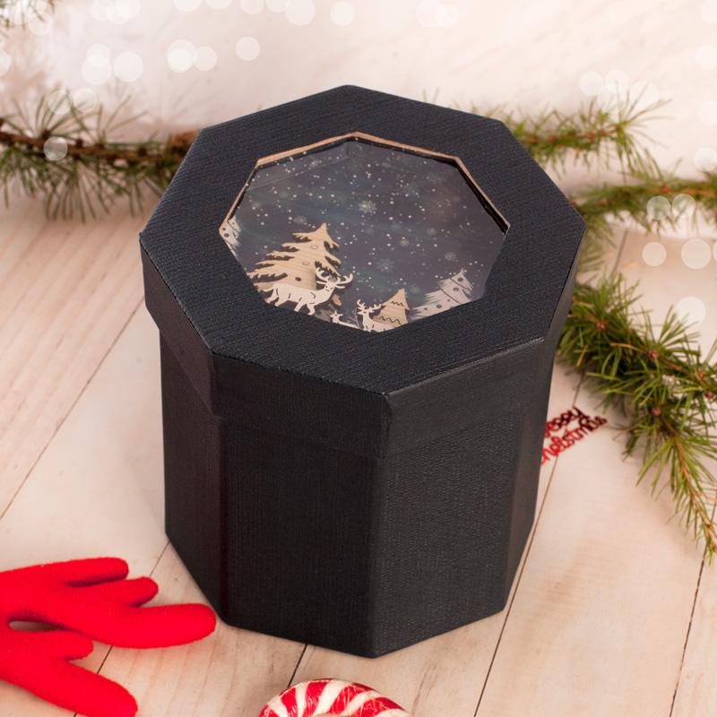 Zdjęcie w galerii - PUDEŁKO na Prezent Świąteczny z dekoracją 3D SZAFIROWE