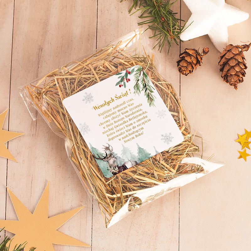 Sianko wigilijne ze świąteczną etykietą z życzeniami.