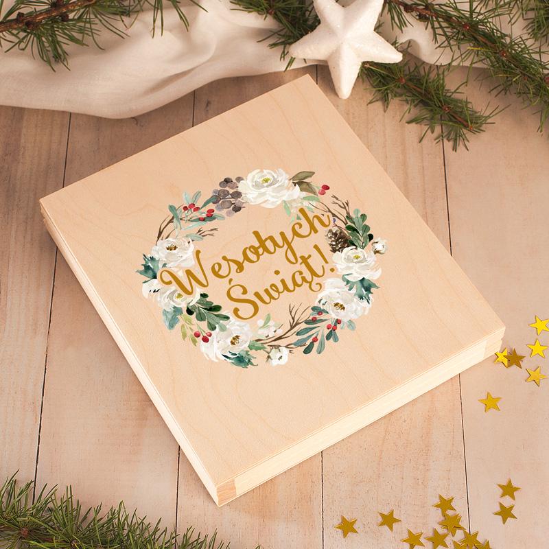 Zdjęcie w galerii - OPŁATKI Wigilijne w Drewnianym Pudełku Prezent Świąteczny Magia Świąt