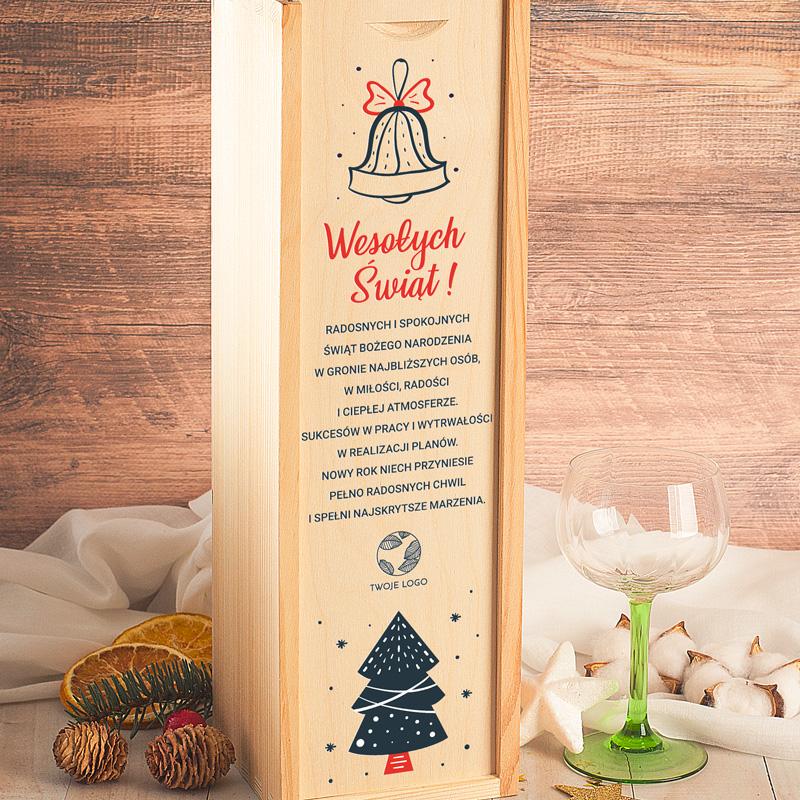 Zdjęcie w galerii - SKRZYNKA Drewniana Na Alkohol Świąteczna Choinka Twoje LOGO/Podpis