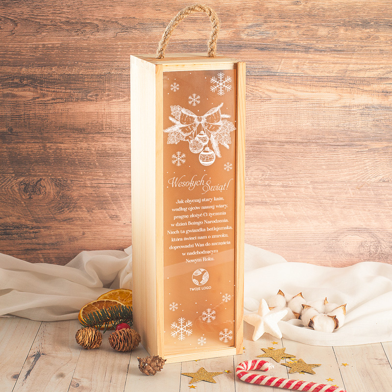 Skrzynia na alkohol z pięknym świątecznym motywem. Idealny prezent na Święta Bożego Narodzenia.