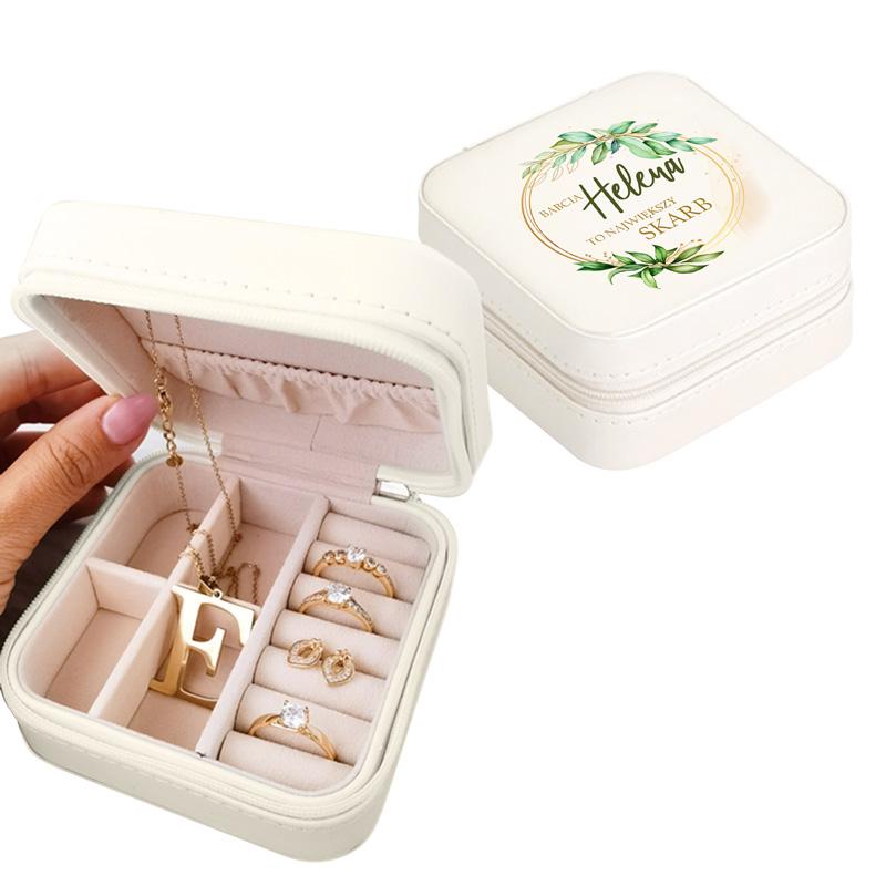 Elegancka szkatułka na biżuterię personalizowany z grafiką na wieczku