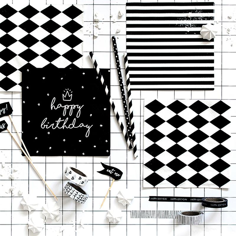 Zdjęcie w galerii - Taśma Dekoracyjna Biało-Czarny Mix 4szt