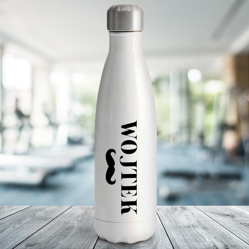 Metalowa termiczna butelka z nadrukiem i imieniem dla mężczyzny