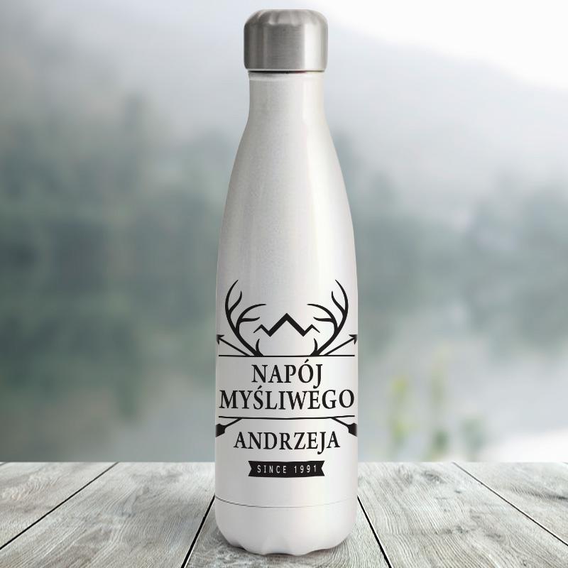 Metalowa butelka termiczna z czarnym nadrukiem Napój Mysliwego oraz imię
