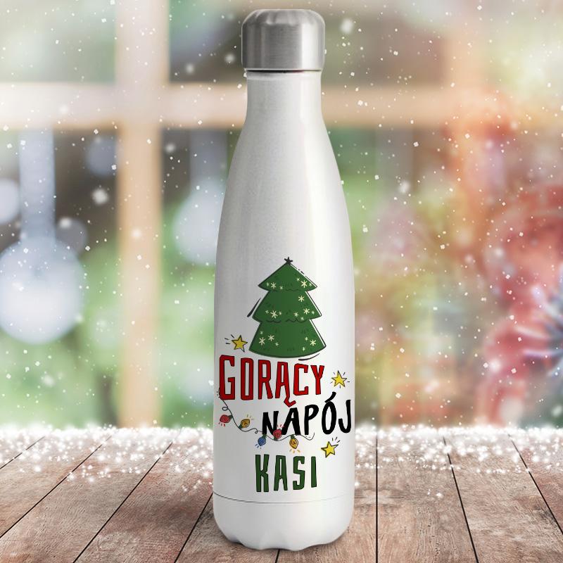 termos metalowy z piękną świąteczna grafiką w formie choinki i światełek oraz imieniem