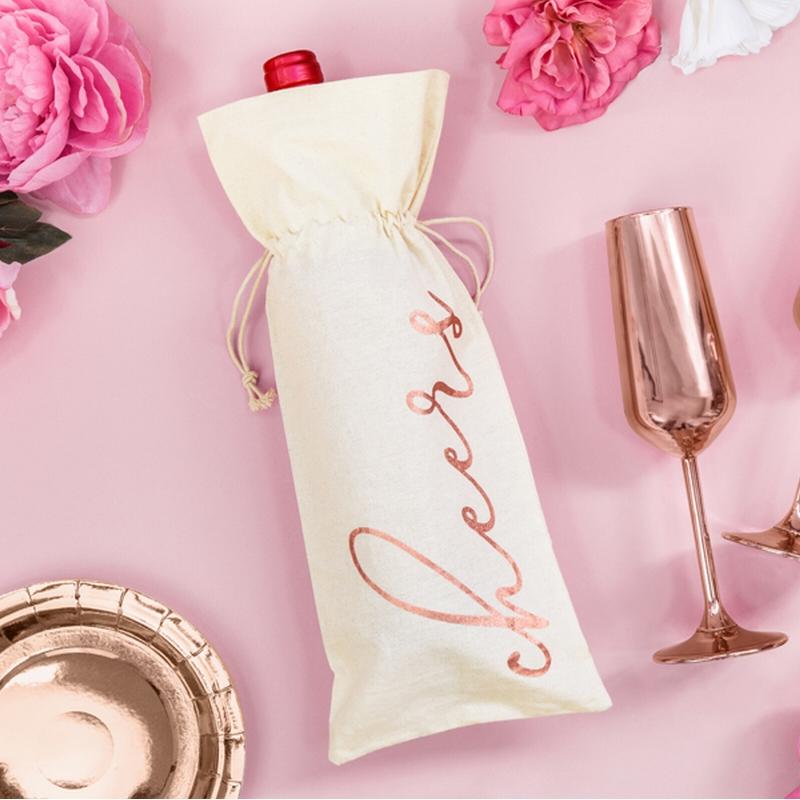 Bawełniane worki na butelki ze ściągaczem i napisem w kolorze różowego złota Cheers